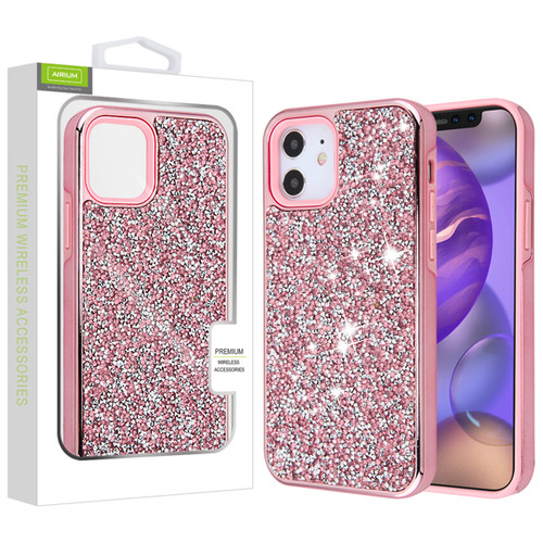 Airium Encrusted Rhinestones Hybrid Case for Apple iPhone 12 mini (5.4) - Electroplated Pink / Pink