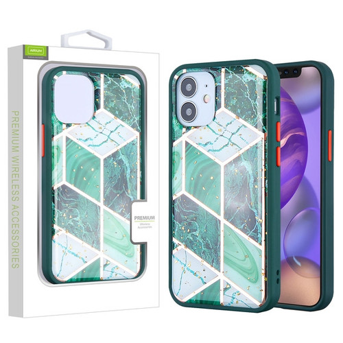 Airium Hybrid Case for Apple iPhone 12 mini (5.4) - Green Marbling / Green