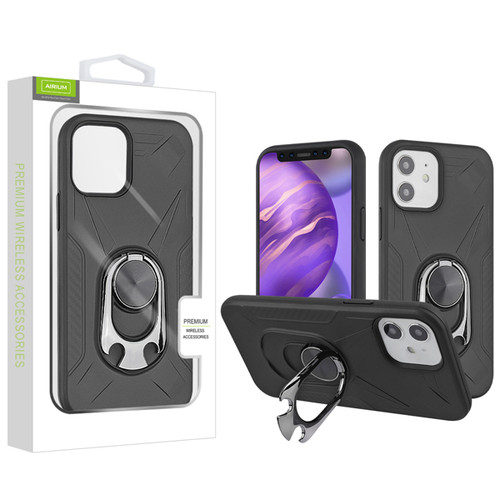 Airium Hybrid Protector Case (with Ring Holder Kickstand Bottle) for Apple iPhone 12 mini (5.4) - Black / Black