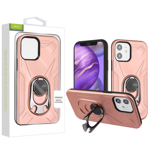 Airium Hybrid Protector Case (with Ring Holder Kickstand Bottle) for Apple iPhone 12 mini (5.4) - Rose Gold / Black