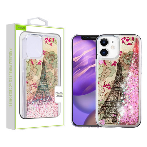 Airium Quicksand Glitter Hybrid Protector Case for Apple iPhone 12 mini (5.4) - Eiffel Tower & Pink Hearts