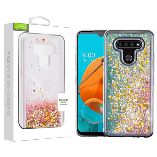 Airium Quicksand Glitter Hybrid Protector Cover for Lg K51 - Stars & Pink
