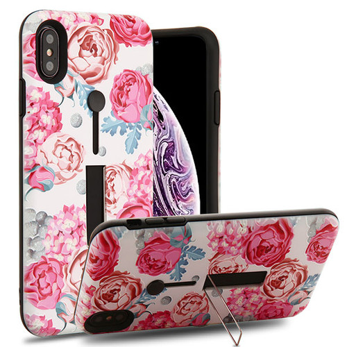Airium Finger Grip Hybrid Protector Cover (with Silicone Strap & Metal Stand) for Apple iPhone XS Max - Victorian Flower / Black