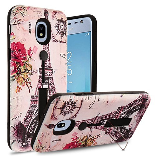 Airium Finger Grip Hybrid Protector Cover (with Silicone Strap & Metal Stand) for Samsung J337 (Galaxy J3 (2018)) - Paris Memory / Black