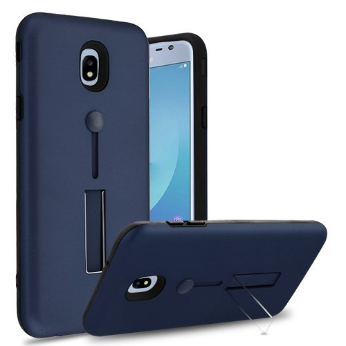 Airium Finger Grip Hybrid Protector Cover (with Silicone Strap & Metal Stand) for Samsung J337 (Galaxy J3 (2018)) - Ink Blue / Black
