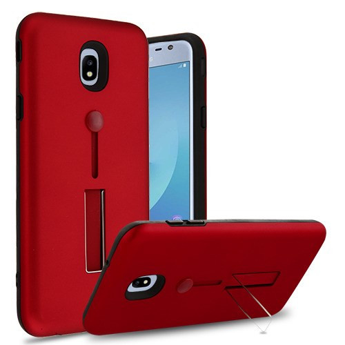 Airium Finger Grip Hybrid Protector Cover (with Silicone Strap & Metal Stand) for Samsung J337 (Galaxy J3 (2018)) - Red / Black