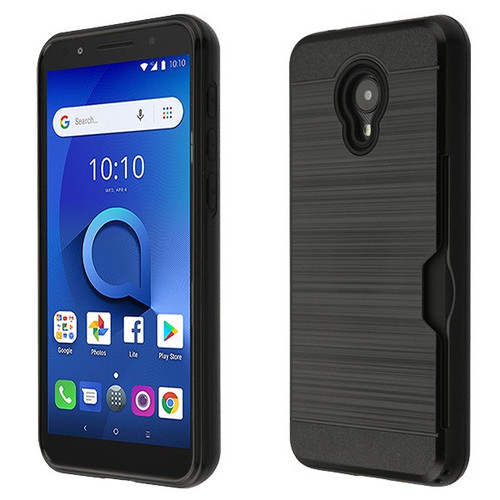 Airium Brushed Hybrid Protector Cover(with Card Wallet) for Alcatel 1X Evolve - Black / Black