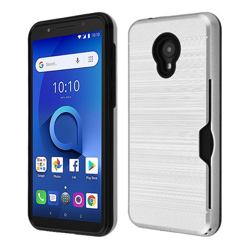 Airium Brushed Hybrid Protector Cover(with Card Wallet) for Alcatel 1X Evolve - Silver / Black