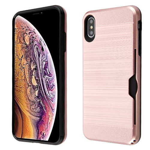 Airium Brushed Hybrid Protector Cover(with Card Wallet) for Apple iPhone XS Max - Rose Gold / Black
