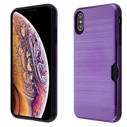 Airium Brushed Hybrid Protector Cover(with Card Wallet) for Apple iPhone XS Max - Dark Purple / Black