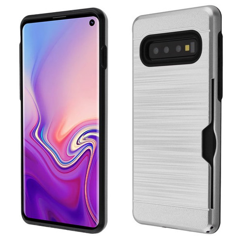 Airium Brushed Hybrid Protector Cover(with Card Wallet) for Samsung Galaxy S10E - Silver / Black