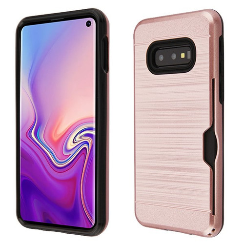 Airium Brushed Hybrid Protector Cover(with Card Wallet) for Samsung Galaxy S10E - Rose Gold / Black