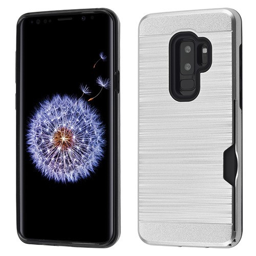 Airium Brushed Hybrid Protector Cover(with Card Wallet) for Samsung Galaxy S9 Plus - Silver / Black