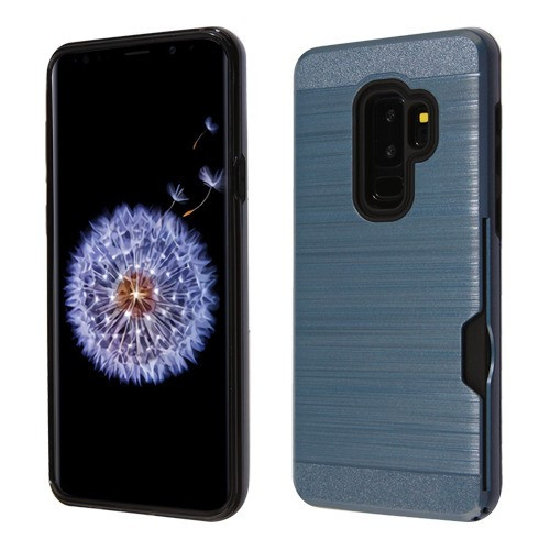 Airium Brushed Hybrid Protector Cover(with Card Wallet) for Samsung Galaxy S9 Plus - Ink Blue / Black