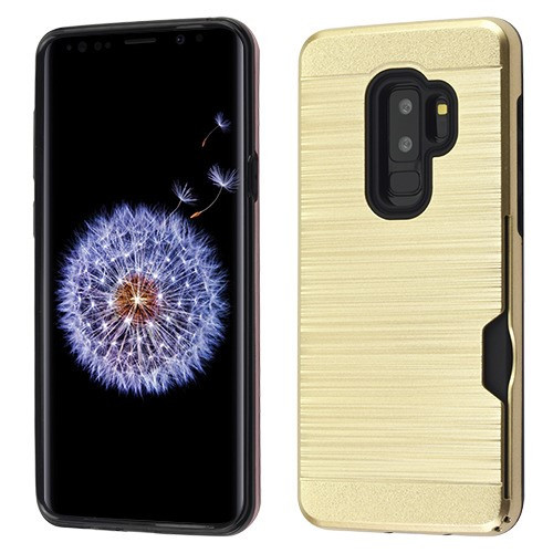 Airium Brushed Hybrid Protector Cover (with Card Wallet) for Samsung Galaxy S9 Plus - Gold / Black
