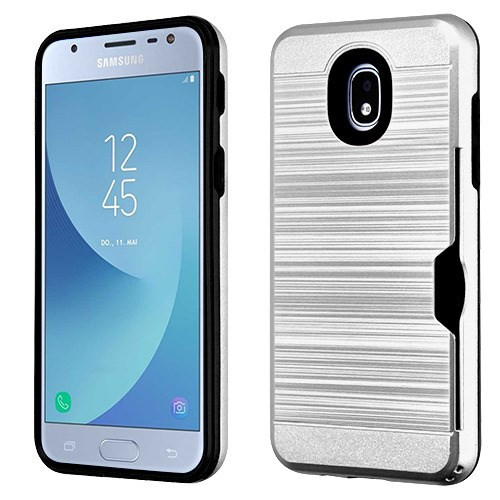 Airium Brushed Hybrid Protector Cover(with Card Wallet) for Samsung J337 (Galaxy J3 (2018)) - Silver / Black