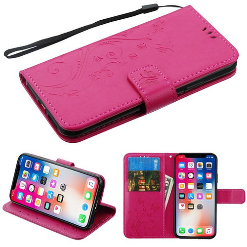 Airium 3D Butterfly Flower MyJacket Wallet for Apple iPhone XS/X - Hot Pink