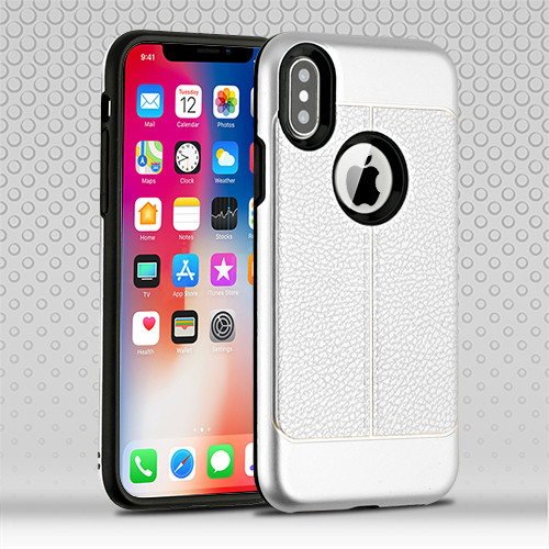 Airium Hybrid Protector Cover for Apple iPhone XS/X - Silver Leather Texture / Black