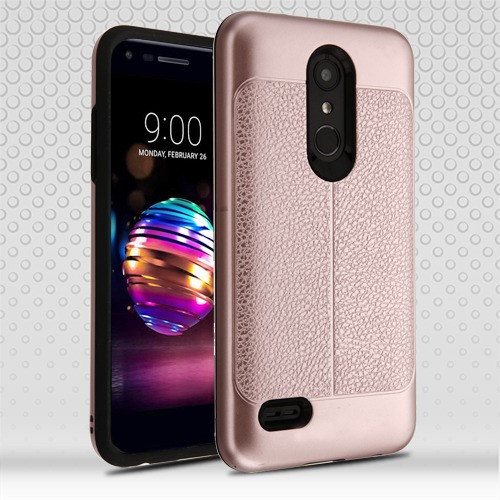 Airium Hybrid Protector Cover for Lg L413DL (Premier Pro) - Rose Gold Leather Texture / Black