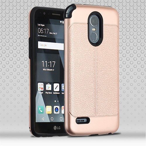 Airium Hybrid Protector Cover for Lg Stylo 3 Plus - Rose Gold Leather Texture / Black