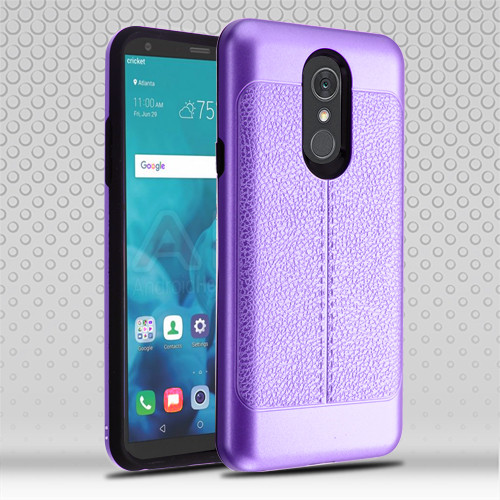 Airium Hybrid Protector Cover for Lg Stylo 4 - Purple Leather Texture / Black