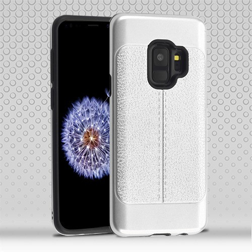 Airium Hybrid Protector Cover for Samsung Galaxy S9 - Silver Leather Texture / Black