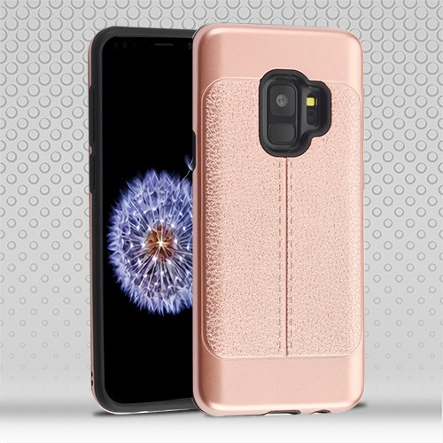 Airium Hybrid Protector Cover for Samsung Galaxy S9 - Rose Gold Leather Texture / Black