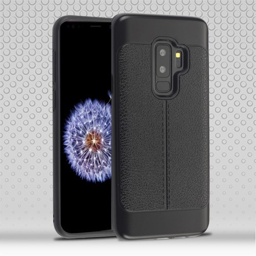 Airium Hybrid Protector Cover for Samsung Galaxy S9 Plus - Black Leather Texture / Black