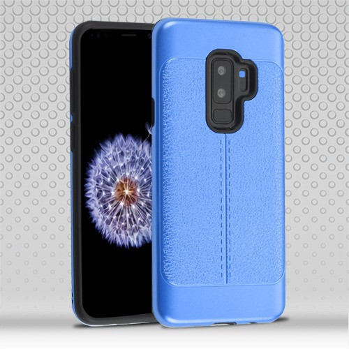 Airium Hybrid Protector Cover for Samsung Galaxy S9 Plus - Dark Blue Leather Texture / Black
