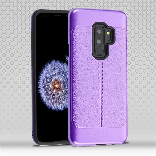 Airium Hybrid Protector Cover for Samsung Galaxy S9 Plus - Purple Leather Texture / Black