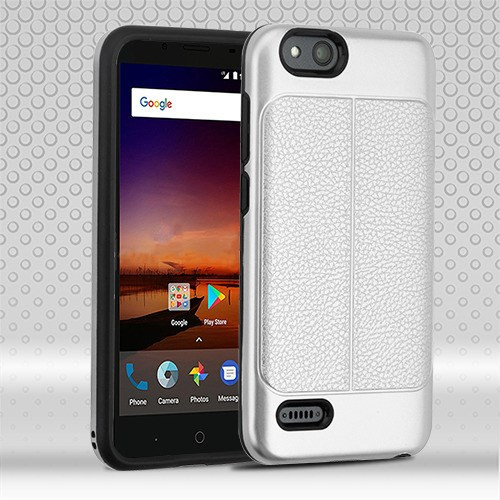 Airium Hybrid Protector Cover for Zte Fanfare 3 - Silver Leather Texture / Black