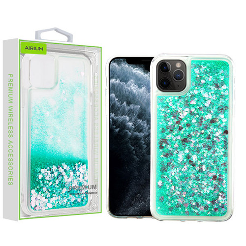 Airium Quicksand Glitter Hybrid Protector Cover for Apple iPhone 11 Pro - Hearts & Green