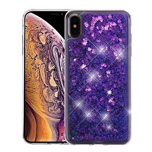 Airium Quicksand Glitter Hybrid Protector Cover for Apple iPhone XS Max - Hearts & Purple