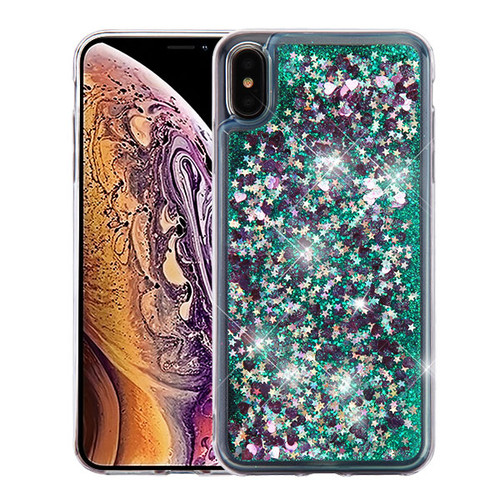 Airium Quicksand Glitter Hybrid Protector Cover for Apple iPhone XS Max - Hearts & Green