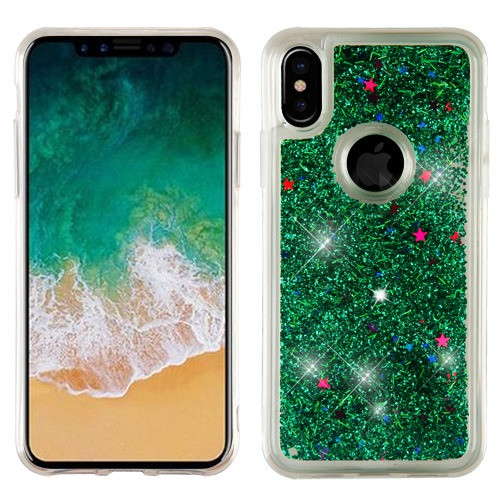 Airium Quicksand Glitter Hybrid Protector Cover for Apple iPhone XS/X - Green
