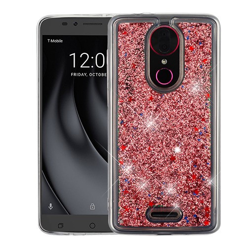 Airium Quicksand Glitter Hybrid Protector Cover for Coolpad C3701A (Revvl Plus) - Rose Gold