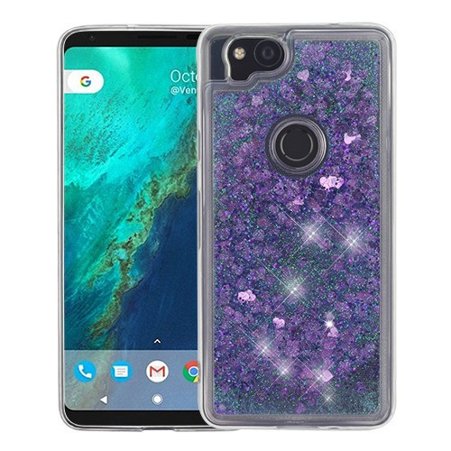 Airium Quicksand Glitter Hybrid Protector Cover for Google Pixel 2 - Hearts & Purple