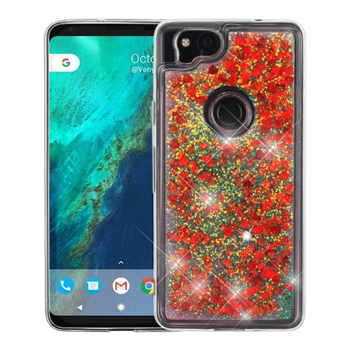 Airium Quicksand Glitter Hybrid Protector Cover for Google Pixel 2 - Hearts & Red