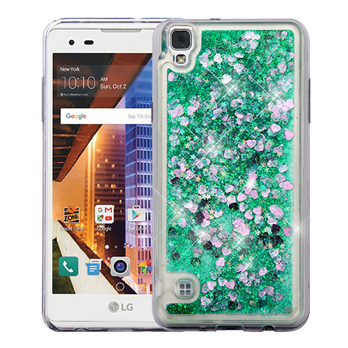 Airium Quicksand Glitter Hybrid Protector Cover for Lg LS676 (X STYLE) - Hearts & Green