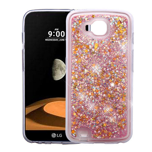 Airium Quicksand Glitter Hybrid Protector Cover for Lg V9 (X Calibur) - Stars & Pink