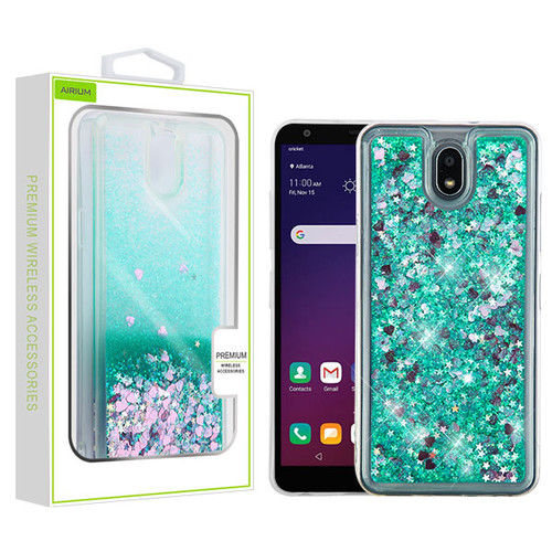 Airium Quicksand Glitter Hybrid Protector Cover for Lg X320 (Escape Plus) - Hearts & Green