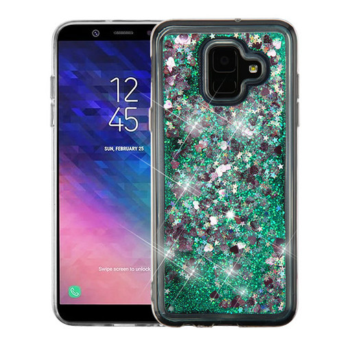 Airium Quicksand Glitter Hybrid Protector Cover for Samsung Galaxy A6 (2018) - Hearts & Green