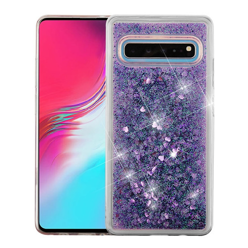 Airium Quicksand Glitter Hybrid Protector Cover for Samsung Galaxy S10 5G - Hearts & Purple