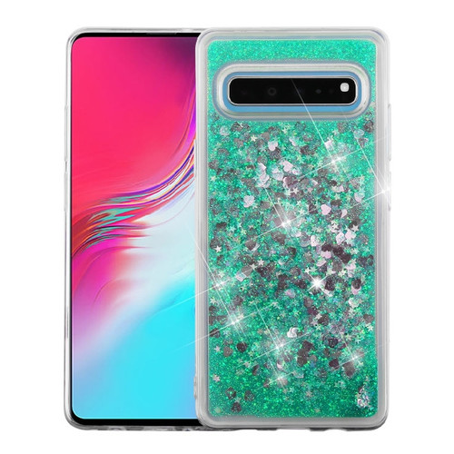 Airium Quicksand Glitter Hybrid Protector Cover for Samsung Galaxy S10 5G - Hearts & Green