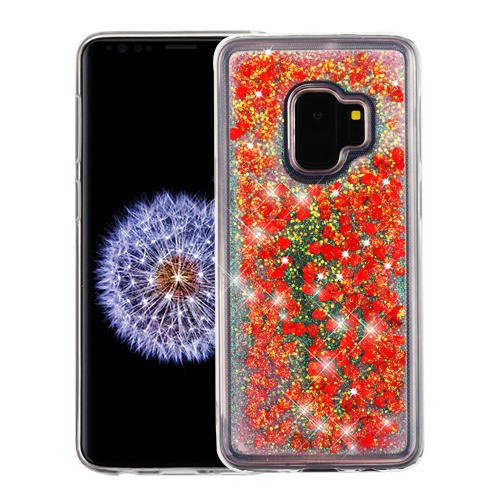 Airium Quicksand Glitter Hybrid Protector Cover for Samsung Galaxy S9 - Hearts & Red