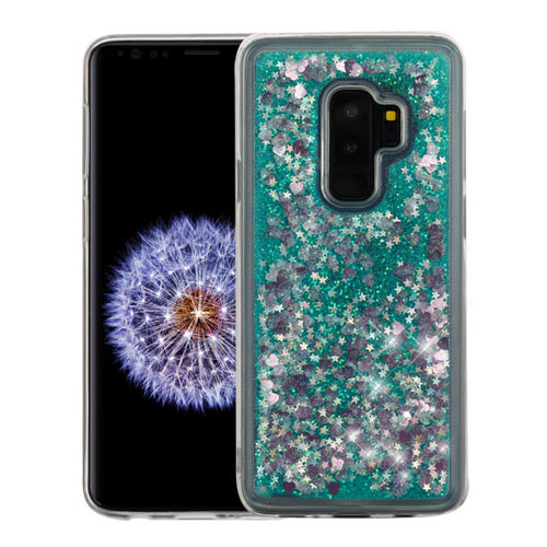 Airium Quicksand Glitter Hybrid Protector Cover for Samsung Galaxy S9 Plus - Hearts & Green