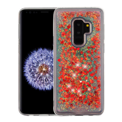 Airium Quicksand Glitter Hybrid Protector Cover for Samsung Galaxy S9 Plus - Hearts & Red