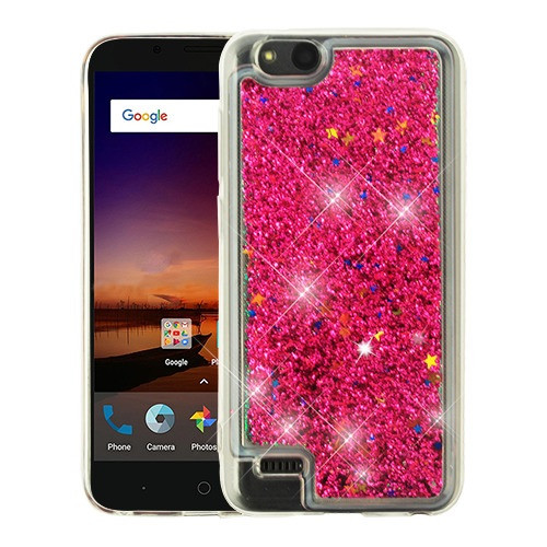 Airium Quicksand Glitter Hybrid Protector Cover for Zte N9137 (Tempo X) - Hot Pink