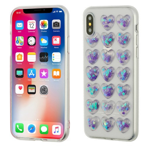 Airium Candy Skin Cover for Apple iPhone XS/X - Transparent Clear Loves (with Purple Love Sequins)