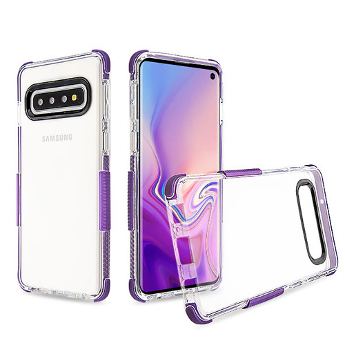 Airium Bumper Sturdy Candy Skin Cover for Samsung Galaxy S10 - Transparent Clear / Purple